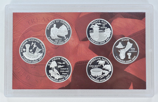 Special 90% Silver 2009-S 6 Coin Territorial Quarter Proof Set