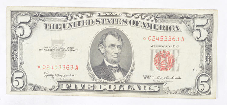 *Star* 1963 Red Seal $5.00 United States Note - ERROR Replacement