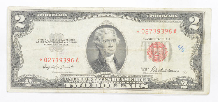 *Star* Error Replacement 1953-A Note Red Seal $2.00 United States Note