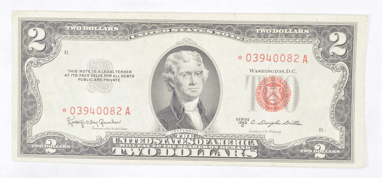 *Star* Error Replacement 1953-C Note Red Seal $2.00 United States Note