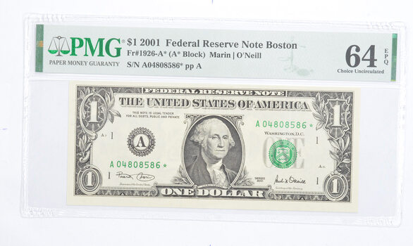 STAR NOTE - PMG Graded 64EPQ $1 2001 FR1926-A* FRN - Error Replacement