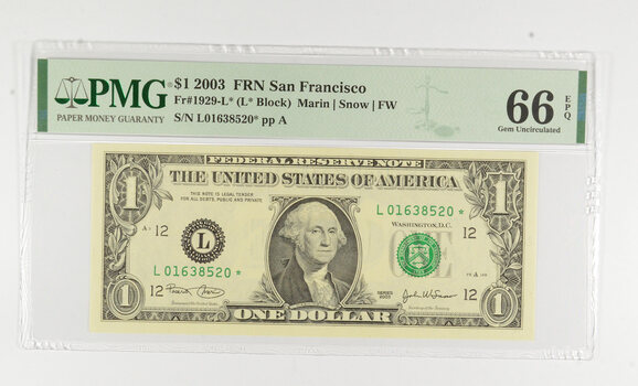 STAR NOTE - PMG Graded 66 EPQ $1 2003 FR1929-L* FRN - Error Replacement