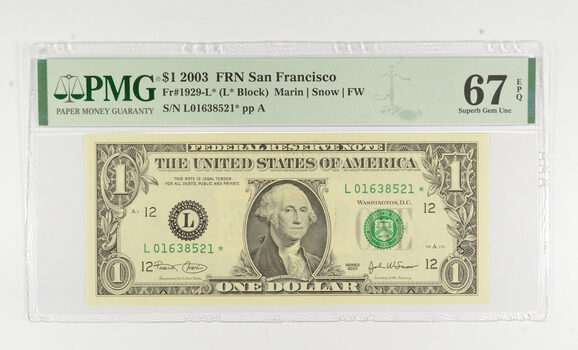 STAR NOTE - PMG Graded 67 EPQ $1 2003 FR1929-L* FRN - Error Replacement