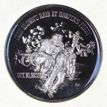 Sterling Silver - Civil War History John Brown's Raid At Harper's Ferry - 0.925 Silver - 25.6 Grams Round