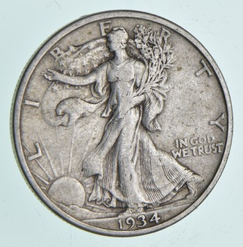 Strong Feather Details - 1934 Walking Liberty Half Dollar