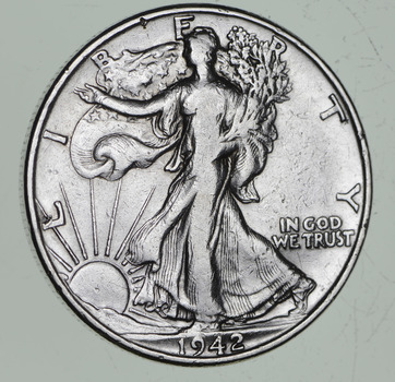 Strong Feather Details - 1942 Walking Liberty Half Dollars - Huge Retail Value