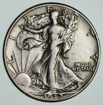 Strong Feather Details - 1942-D Walking Liberty Half Dollar