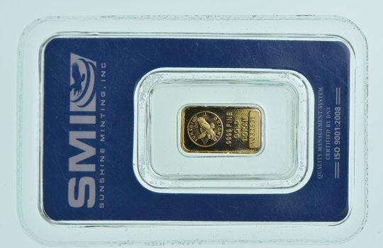Sunshine 1 Gram Fine Gold Bar - In Original Packaging