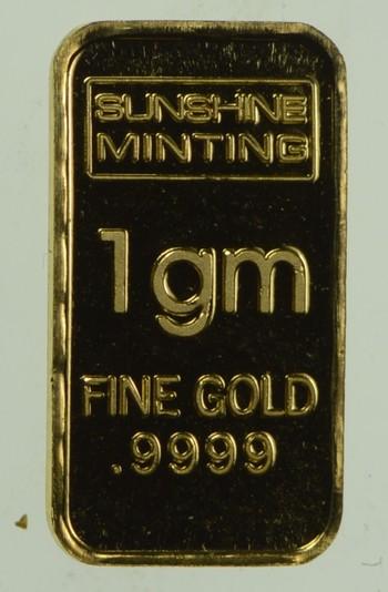 Sunshine Minting 1 Gram Fine Gold Bar