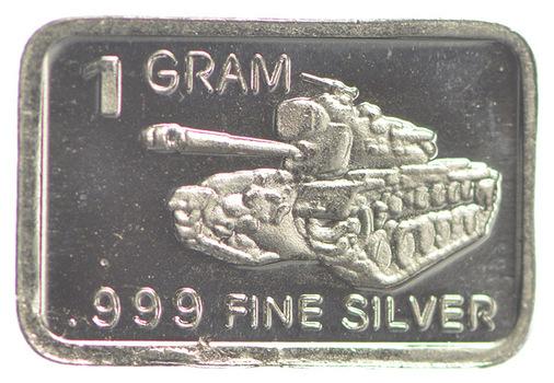 Tank Military Series- 1 Gram .999 Fine Silver Bar