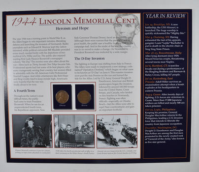 The Lincoln Bicentennial Coin Collection Series - 1944 Lincoln Cents - With Historic Display