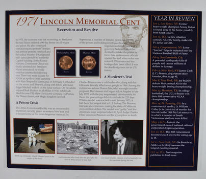 The Lincoln Bicentennial Coin Collection Series - 1971 Lincoln Cents - With Historic Display