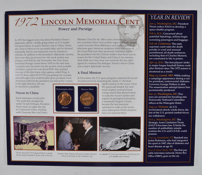 The Lincoln Bicentennial Coin Collection Series - 1972 Lincoln Cents - With Historic Display