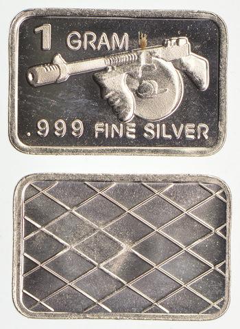 Tommy Gun - 1 Gram .999 Fine Silver - Custom Designed Silver Bar