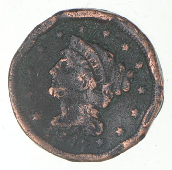 Tough - 1847 Braided Hair Large Cent - US Early Copper Coin