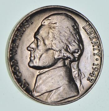TOUGH 1942-D Denver Jefferson Nickel - Scarce