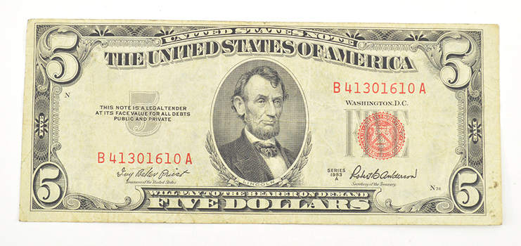 Tough - 1953 Red Seal $5.00 United States Note