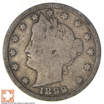 TOUGH Date 1899 Liberty V Nickel - Difficult - High Retail Value