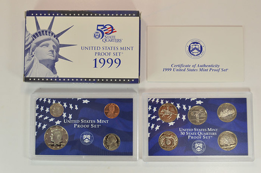 Tough Date 1999-S Deep Cameo U.S. Proof Set - Includes 5 1st Year State Quarters