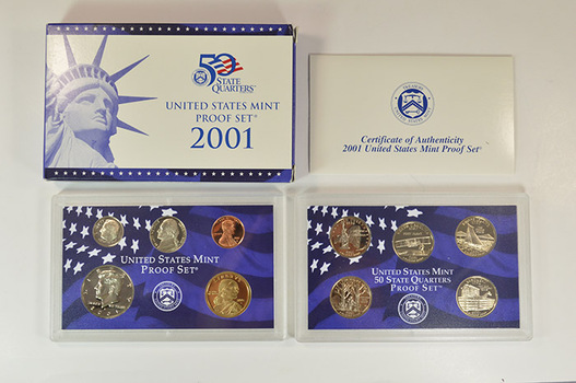 Tough Date 2001-S 10 Coin Deep Cameo U.S. Proof Set - Includes 5 State Quarters and Sacagawea Dollar