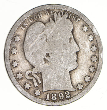 Tough - US 1892 Barber Silver Quarter - 90% Silver - Look it up!