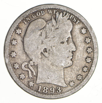 Tough - US 1893 Barber Silver Quarter - 90% Silver - Look it up!