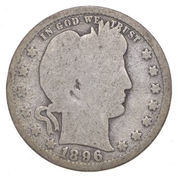 Tough - US 1896 Barber Silver Quarter - 90% Silver - Look it up!