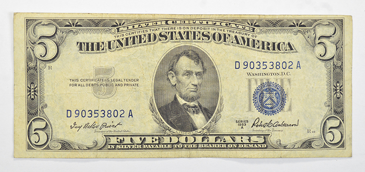 Treasurer - Priest - 1953 $5.00 Silver Certificate US Note - Historic Silver On Demand Note