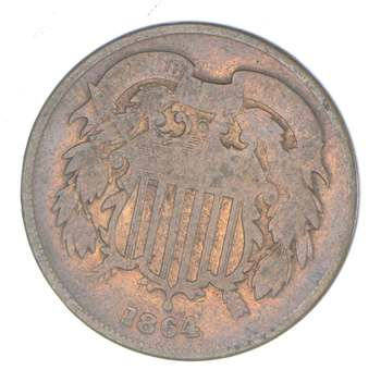 TWO CENT - 1864 US TWO 2 Cent Piece - First Coin with In God We Trust Motto
