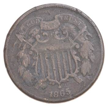 TWO CENT - 1865 US TWO 2 Cent Piece - First Coin with In God We Trust Motto