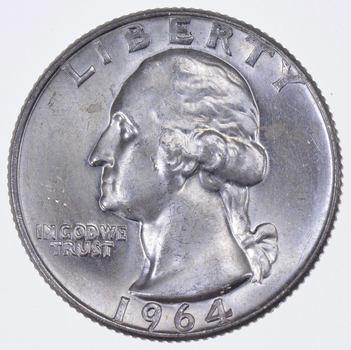 Unc 1964-D Washington 90% Silver United States Quarter
