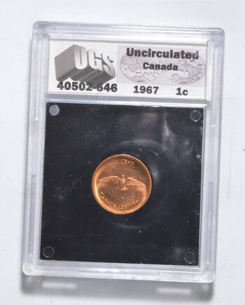 UNC 1967 Canada 1 Cent - Graded UGS