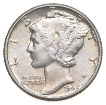 Unc BU MS 1945 - US Mercury 90% Silver Dime Coin Collection Lot Set Break