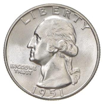Unc BU MS 1951-D - US Washington 90% Silver Quarter Coin Set Break