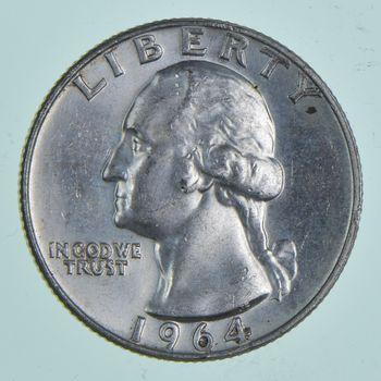 Unc BU MS 1964-D - US Washington 90% Silver Quarter Coin Set Break
