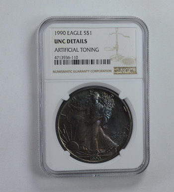 UNC Details 1990 American Silver Eagle - TONED! - Graded NGC