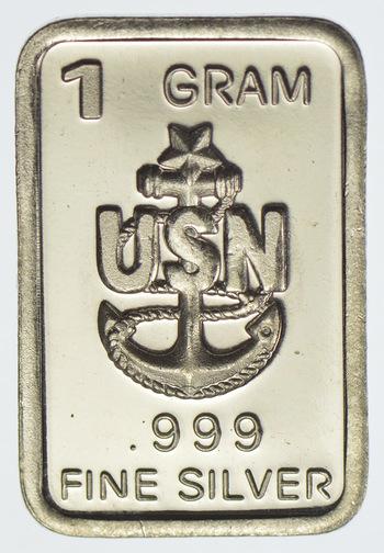 United States Navy - Military Series -1 Gram Silver Bar .999 Fine