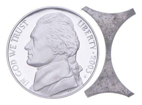 US Mint ERROR - Jefferson Nickel 1965-2020 Webbing Planchet Punching)