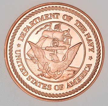 US Navy - Military Series - 1 Oz .999 Fine Copper Round
