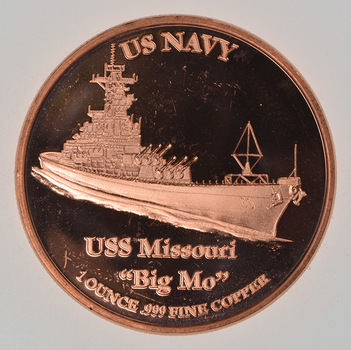 USS Missouri - Historic Ship Series - 1 Oz .999 Fine Copper Round
