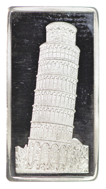 VERY RARE 2.5 Gram .999 Fine Silver Bar - Leaning Tower Of Pisa Italy Design - Ag Mint - Only 300 Minted