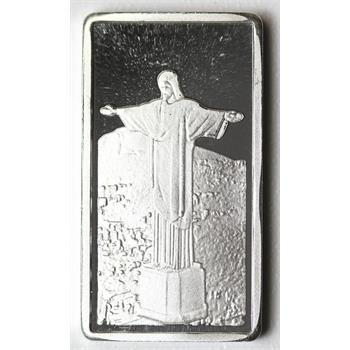 VERY RARE 2.5 Grams .999 Fine Silver Bar - Christ the Redeemer - Brazil Monument- Ag Mint - Only 300 Minted