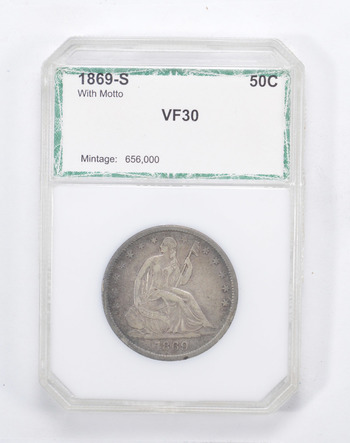 VF30 1869-S Seated Liberty Half Dollar - With Motto - Graded by PCI