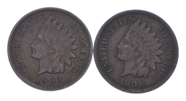 VF/XF 1903 & 1908 Indian Head Cent Collection Lot - STRONG Liberty