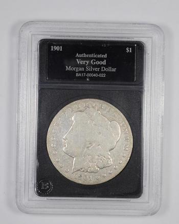 VG 1901 Morgan Silver Dollar - Authenticated