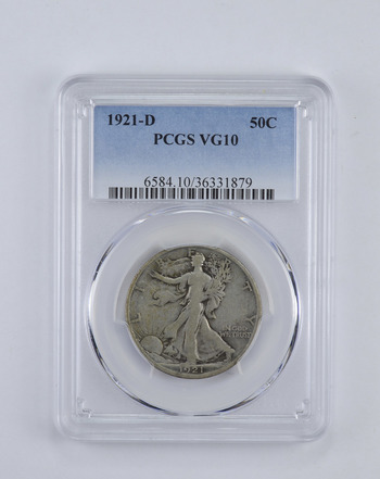 VG10 1921-D Walking Liberty Half Dollar - Graded PCGS