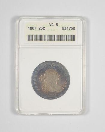 VG8 1807 Draped Bust Quarter - TONED - Graded ANACS