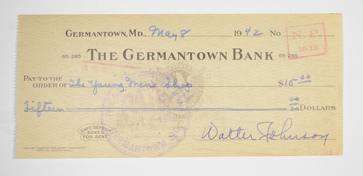 Walter Johnson Washington Senators Signed/Autographed Bank Check 1941