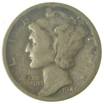 World War 2 WWII Era Mercury 90% Silver Dime - Neat! - 1940