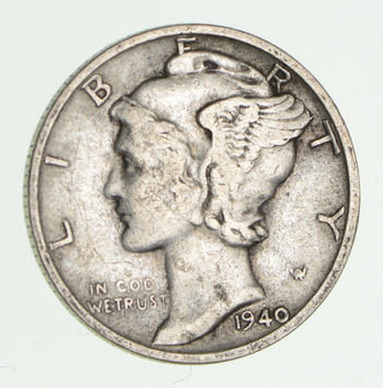 World War 2 WWII Era Mercury 90% Silver Dime - Neat! - 1940-S